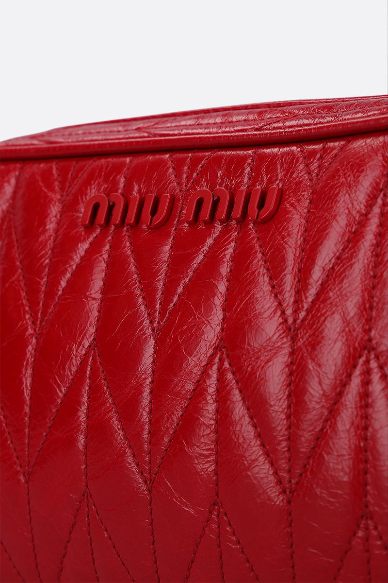 MIU MIU: quilted Shine leather crossbody bag Color Red_5