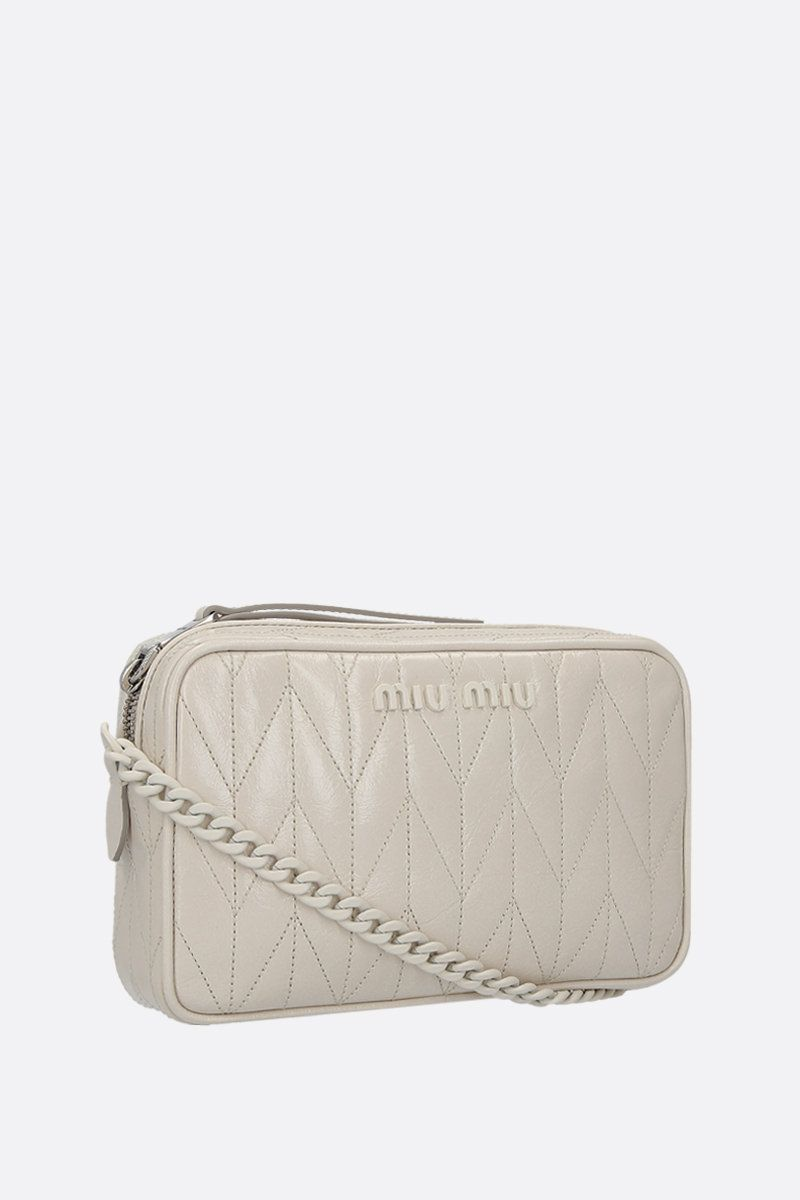 MIU MIU: quilted Shine leather crossbody bag Color White_2
