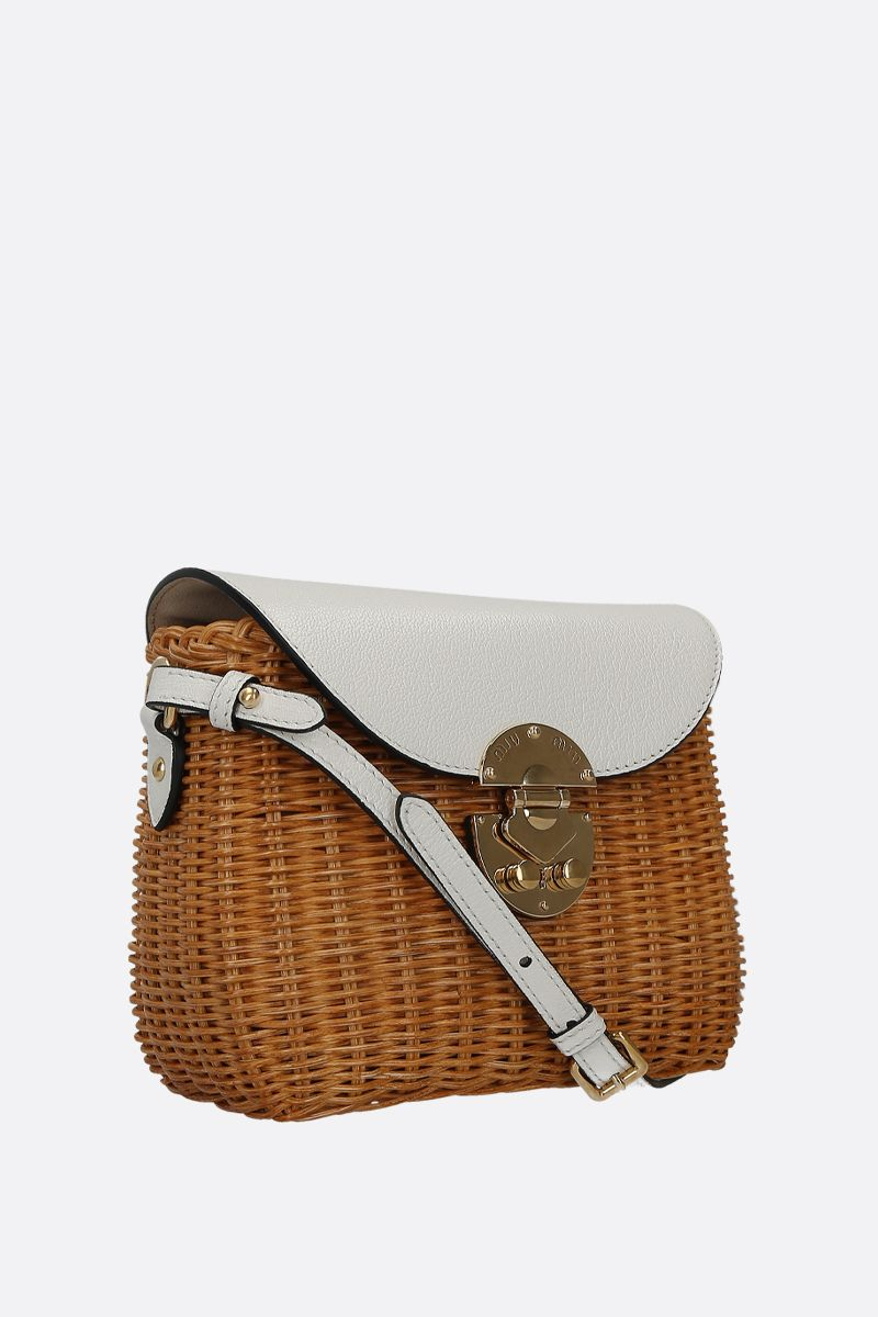 MIU MIU: wicker and grainy leather small crossbody bag Color Neutral_2