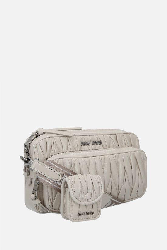 MIU MIU: Shine quilted leather shoulder bag Color White_2