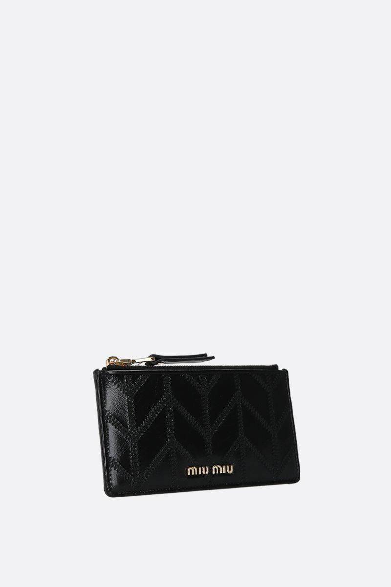 MIU MIU: porta carte con zip in pelle Shine matelassè Colore Nero_2