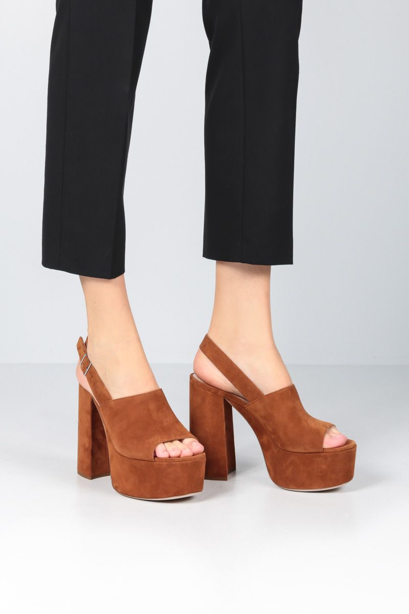 MIU MIU: suede platform sandals Color Brown_2