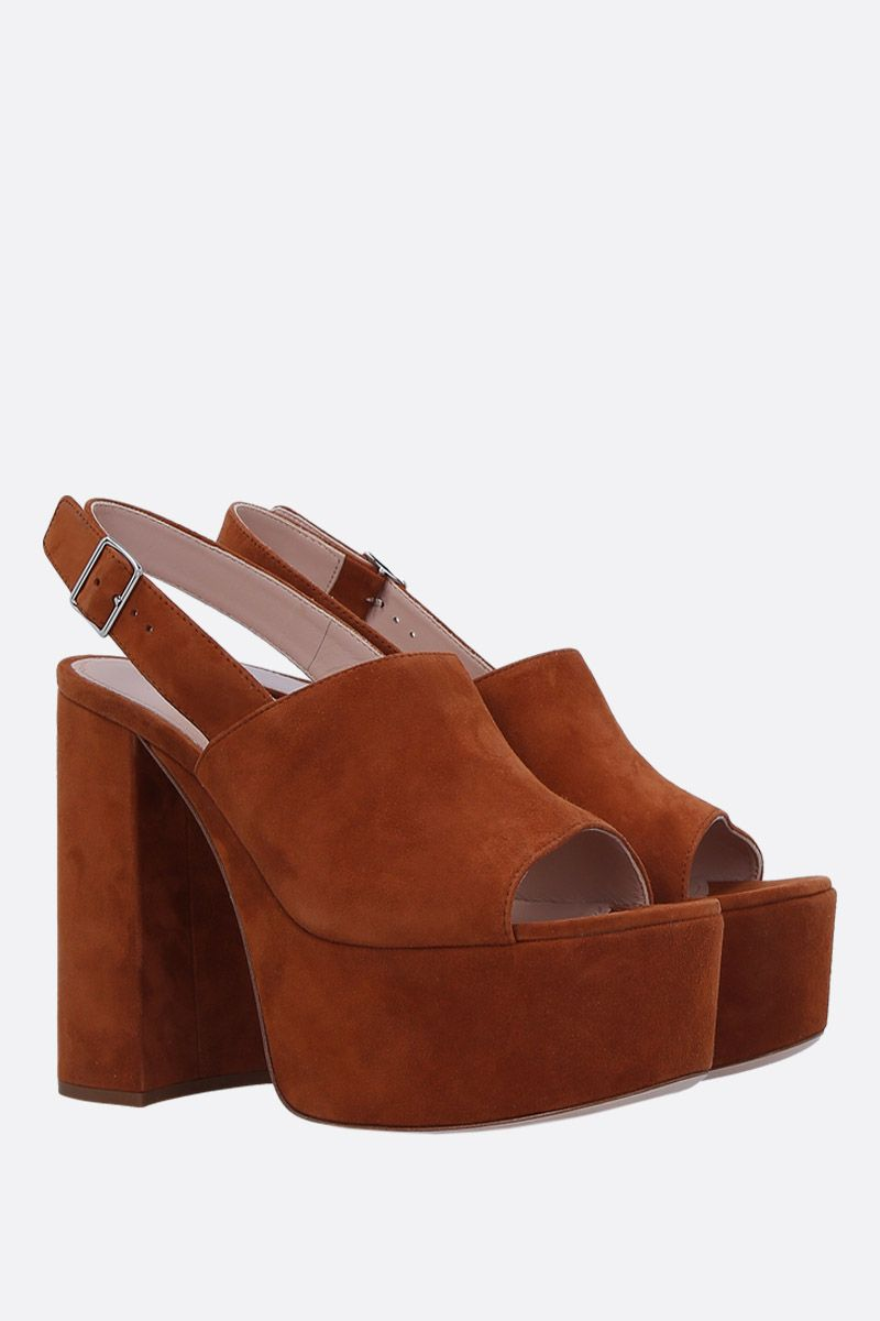 MIU MIU: suede platform sandals Color Brown_3