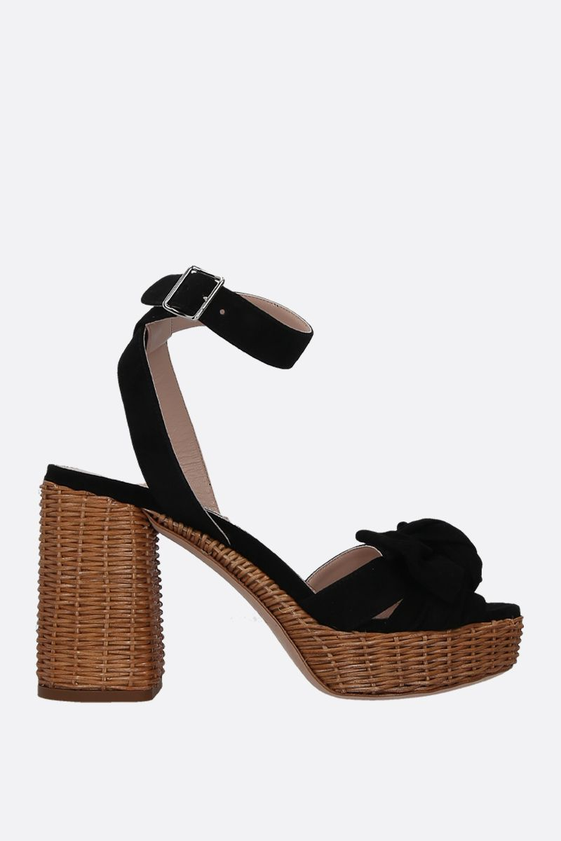 MIU MIU: suede platform sandals Color Black_1