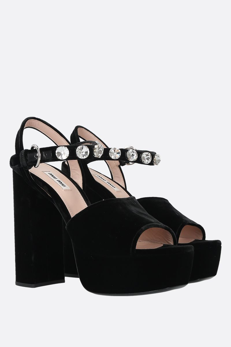 MIU MIU: crystal-embellished velvet platform sandals Color Black_2