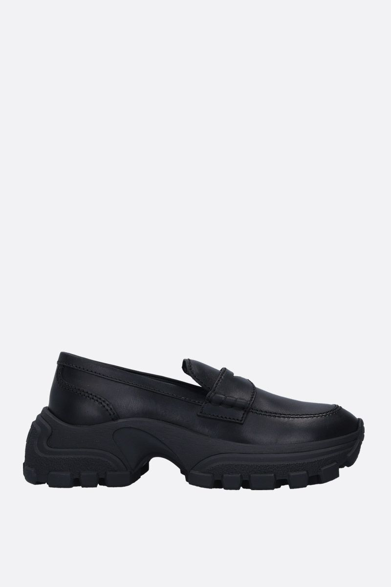 MIU MIU: matte leather flatform loafers Color Black_1