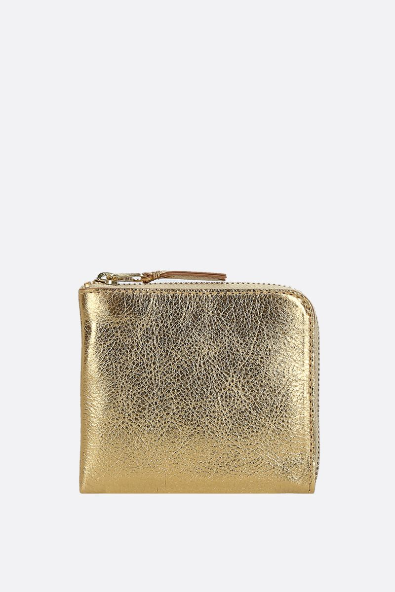 COMME des GARCONS WALLET: laminated leather half-zip wallet Color Gold_1