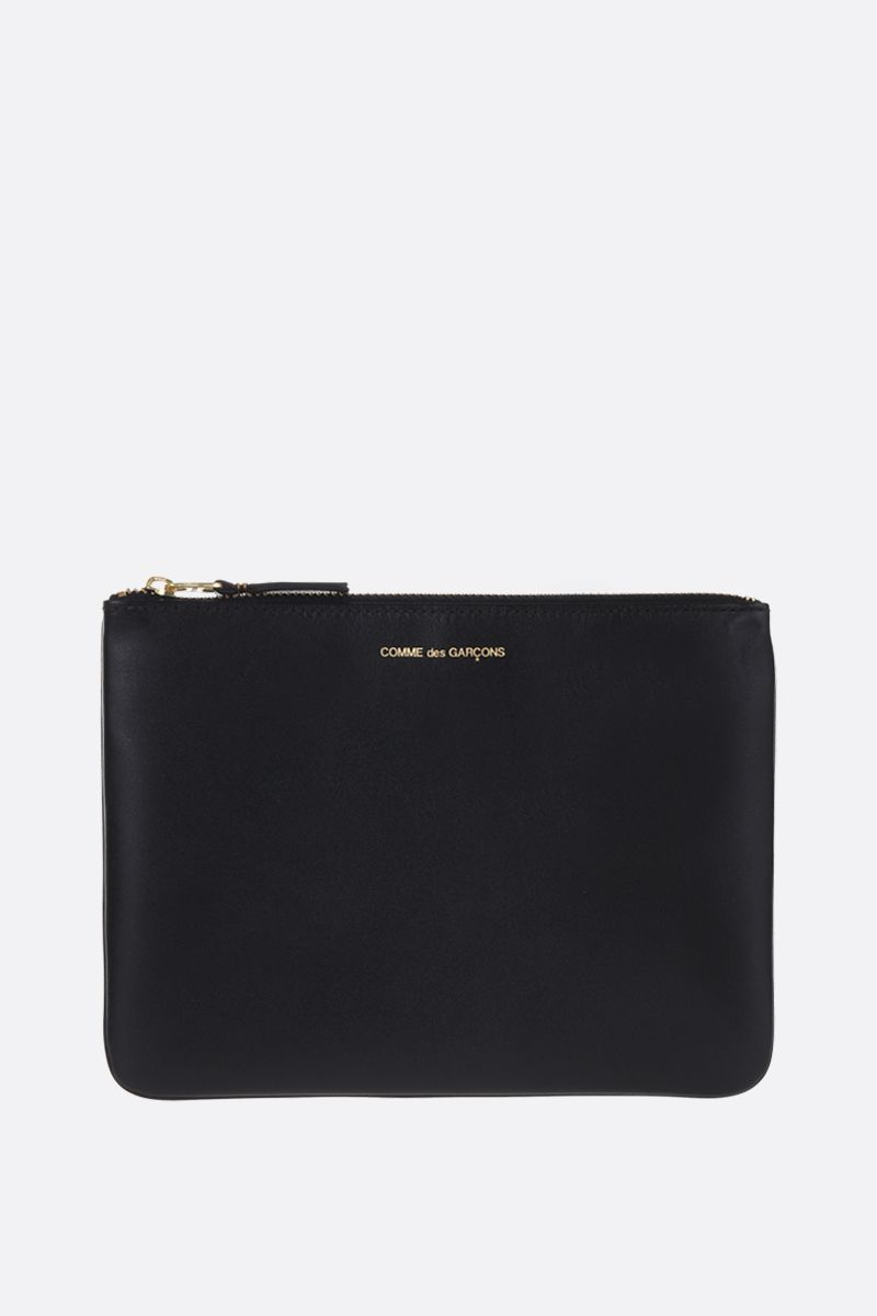 COMME des GARCONS WALLET: smooth leather large pouch Color Black_1