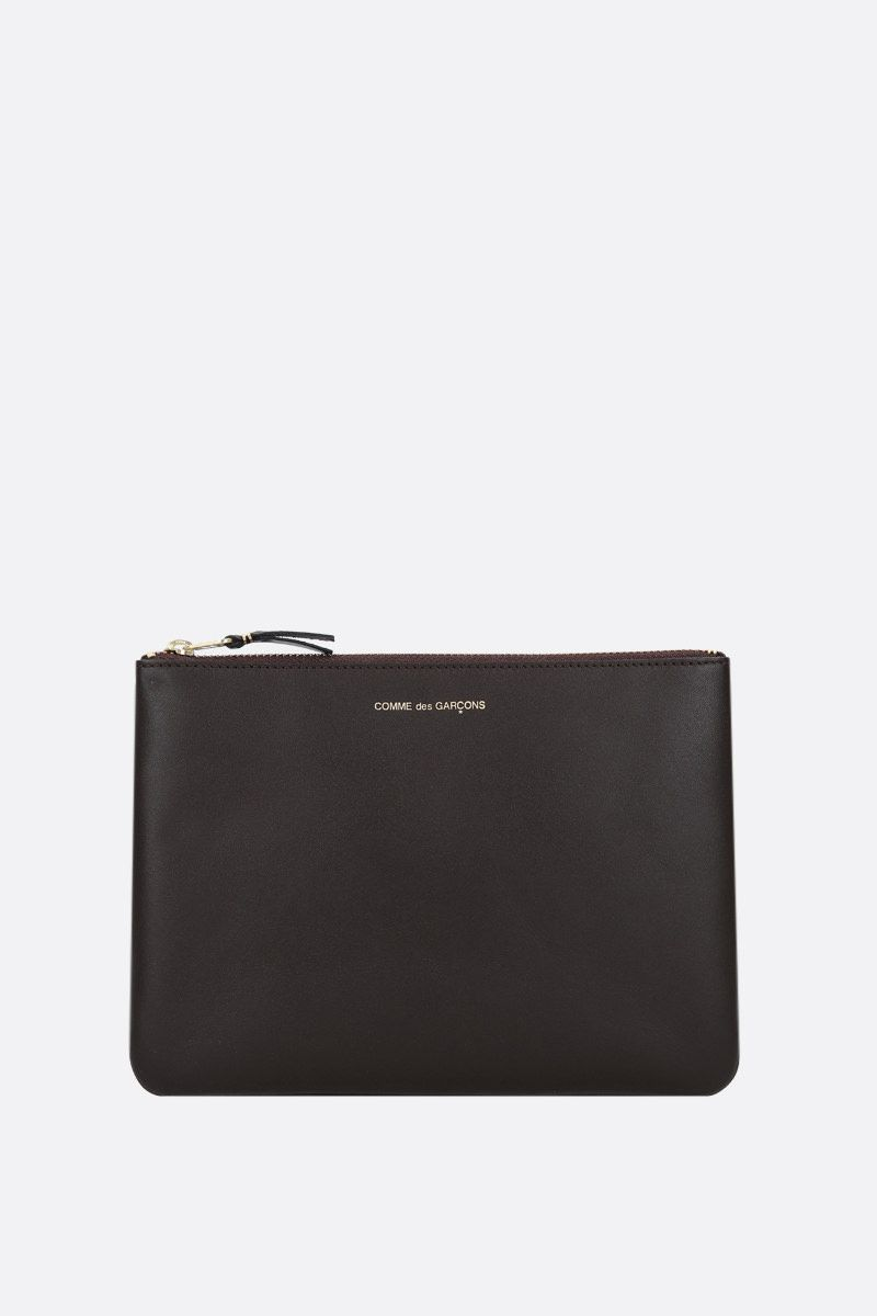 COMME des GARCONS WALLET: smooth leather large pouch Color Brown_1