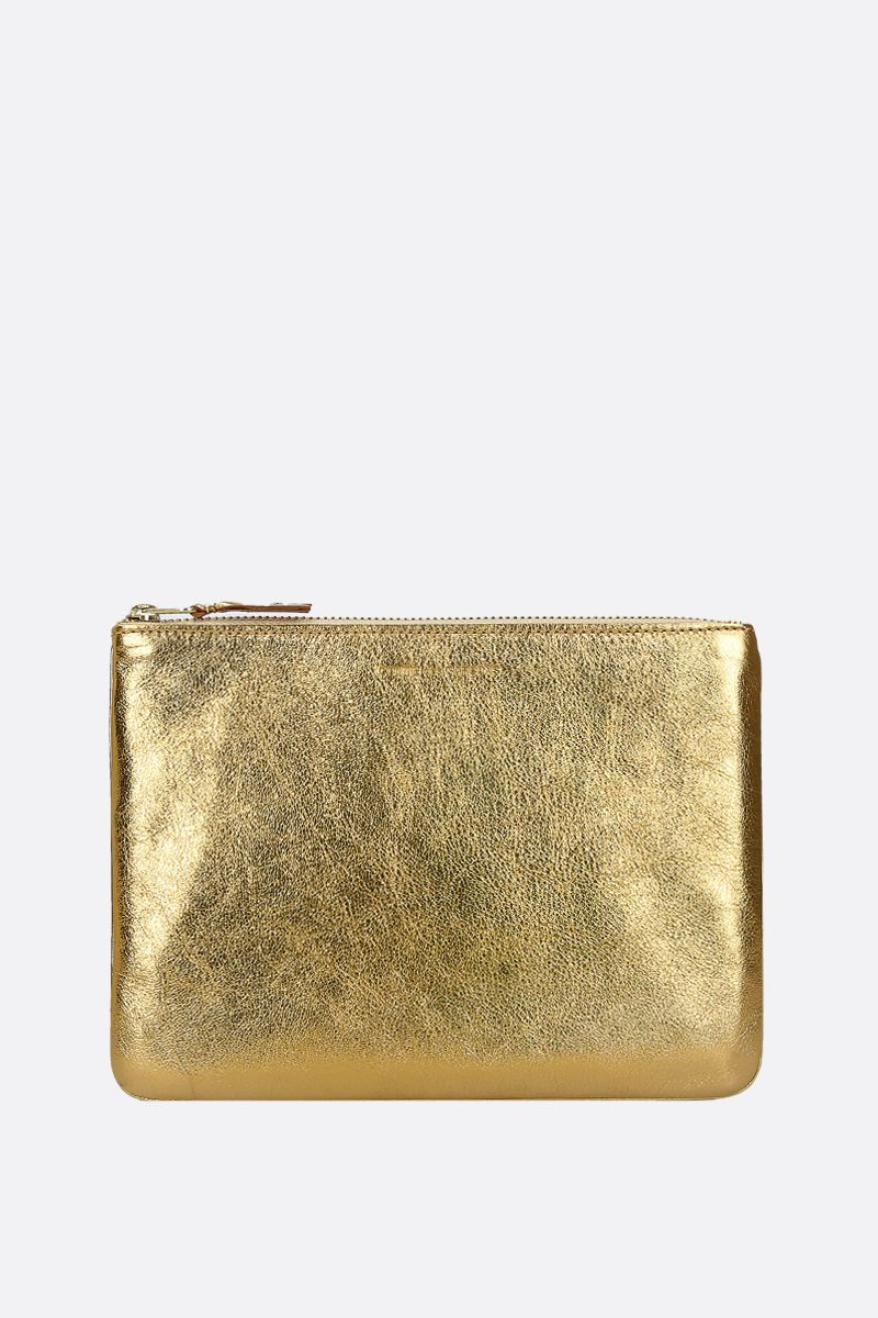 COMME des GARCONS WALLET: laminated leather large pouch Color Gold_1