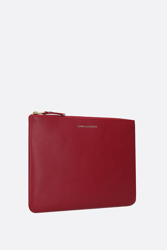 COMME des GARCONS WALLET: smooth leather large pouch Color Red_2