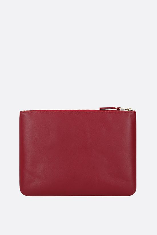 COMME des GARCONS WALLET: smooth leather large pouch Color Red_3