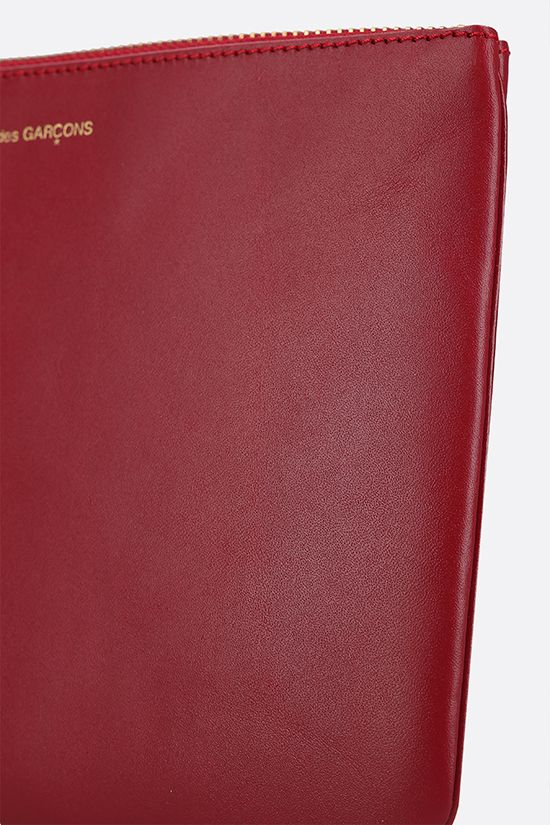 COMME des GARCONS WALLET: smooth leather large pouch Color Red_4