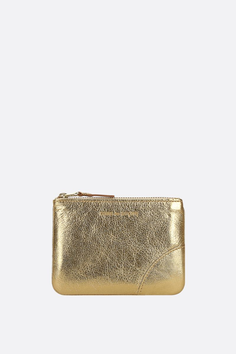 COMME des GARCONS WALLET: laminated leather small pouch Color Gold_1
