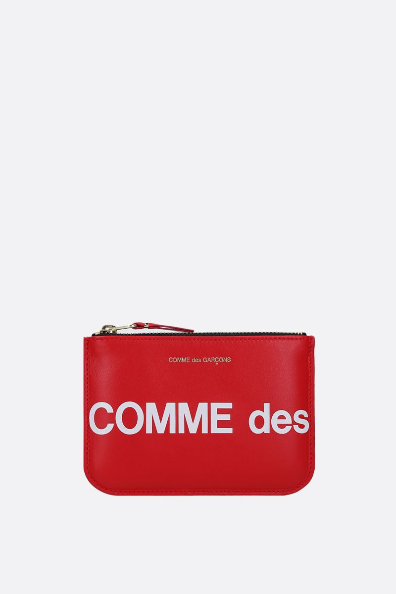 COMME des GARCONS WALLET: logo print smooth leather small pouch Color Red_1