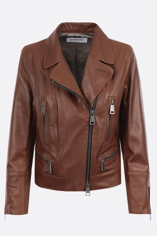 SYLVIE SCHIMMEL: Metro nappa biker jacket Color Brown_1