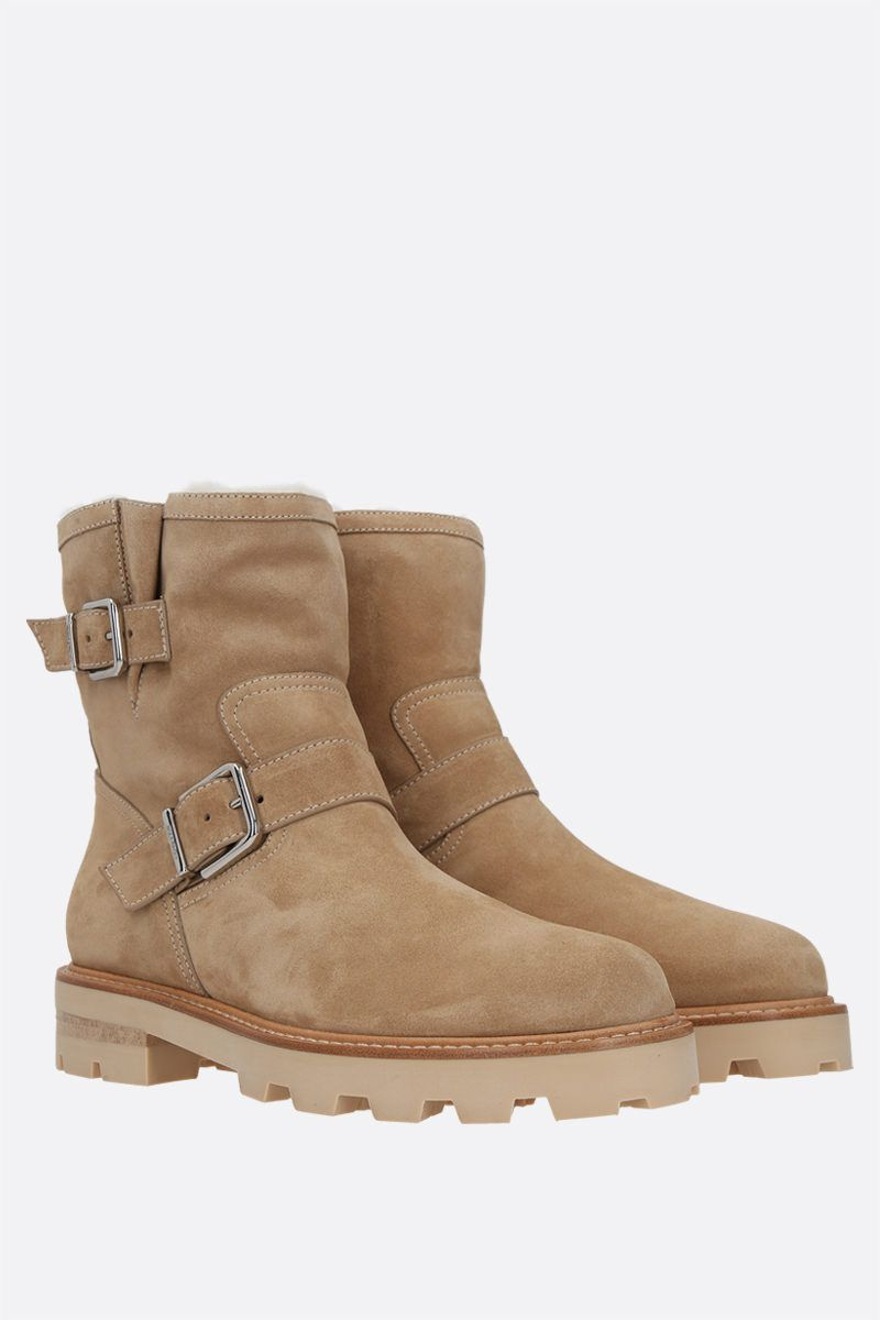 JIMMY CHOO: Youth II suede combat boots Color Neutral_2