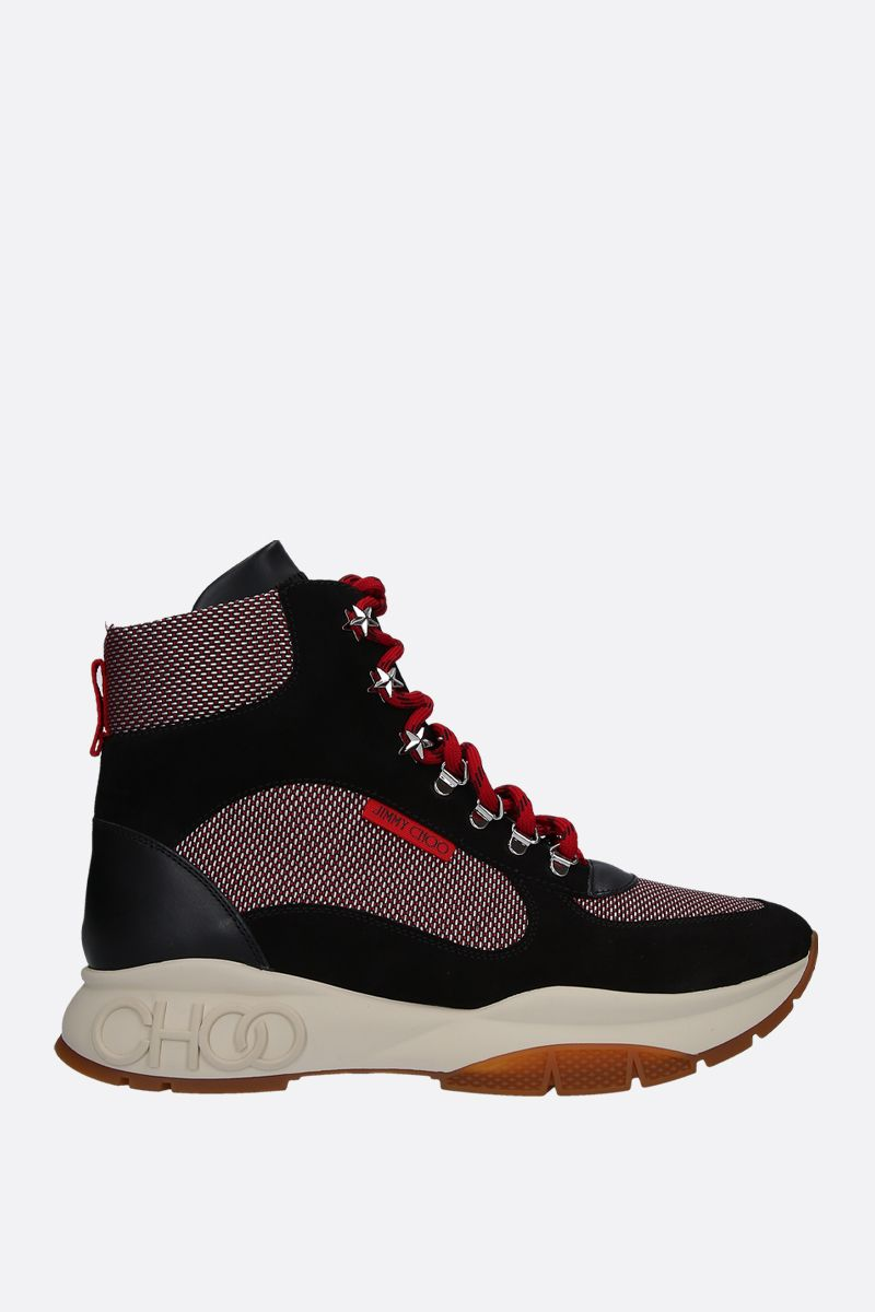 JIMMY CHOO: Inca hiking boots in leather and suede wih mesh inserts Color Multicolor_1