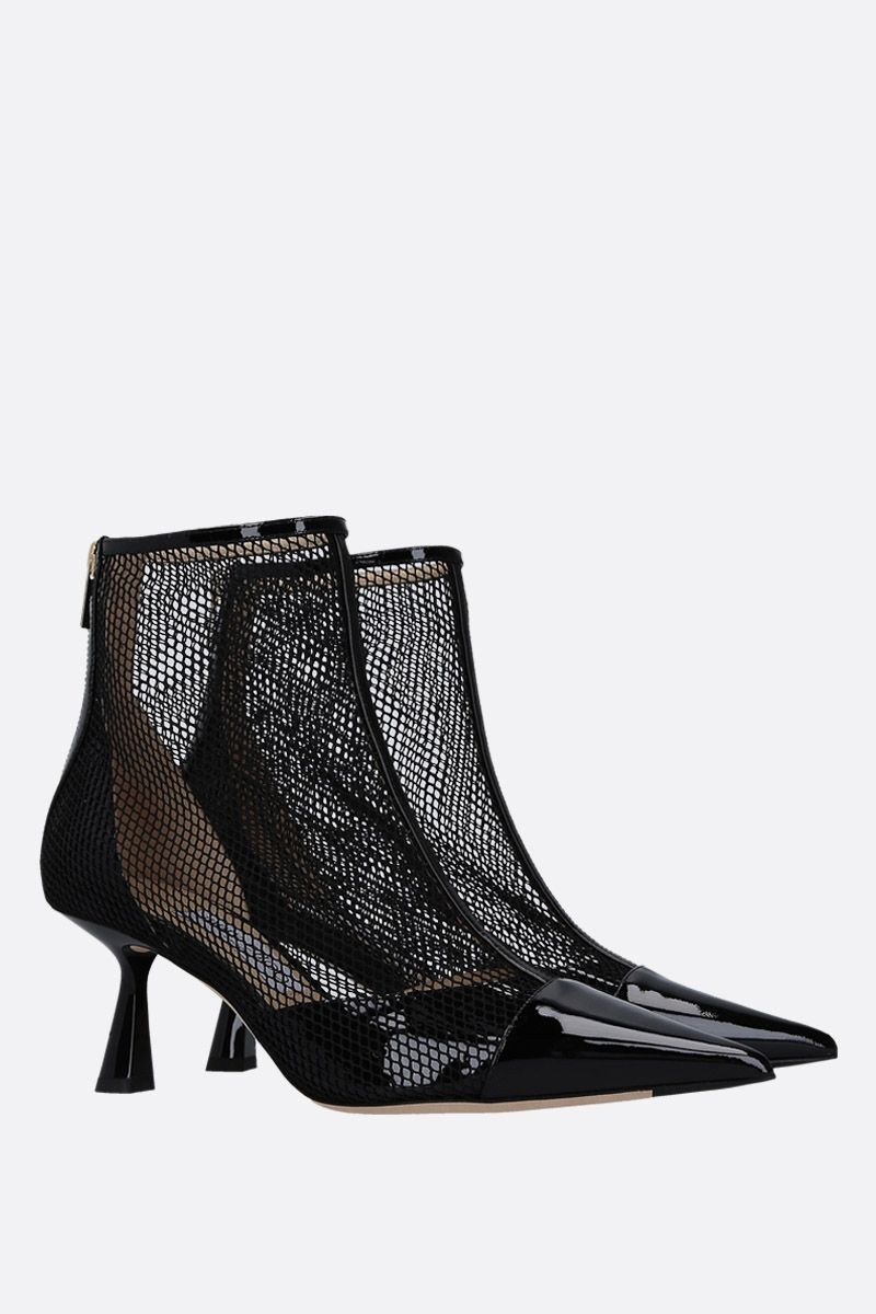 JIMMY CHOO: Kix booties in patent leather and mesh Color Black_2