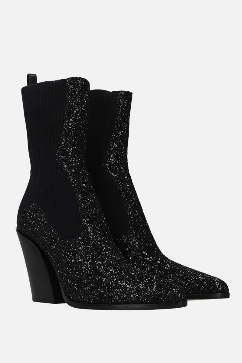 JIMMY CHOO: Mele glitter fabric and stretch knit western boots Color Black_2