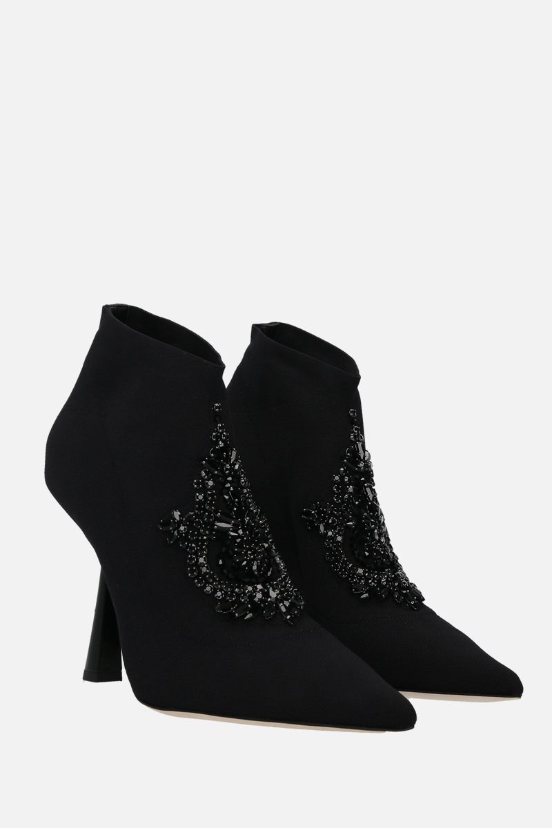 JIMMY CHOO: Saber embroidered stretch knit booties Color Black_2