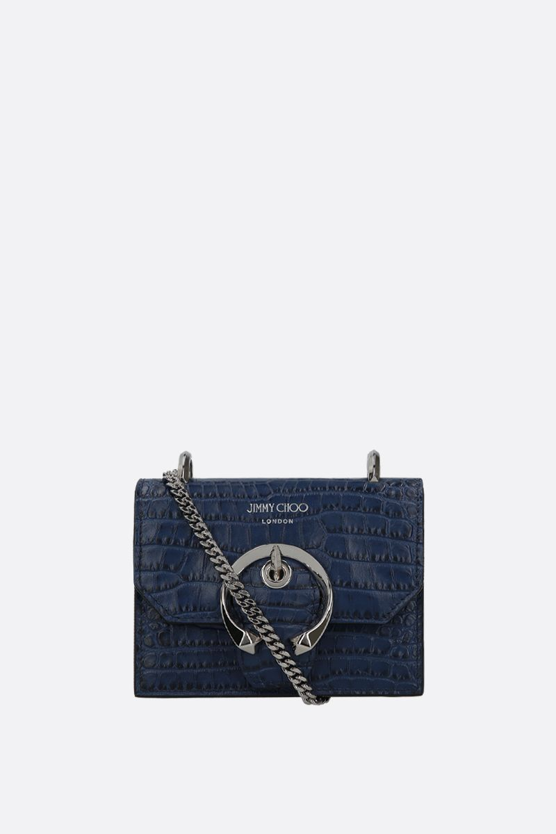 JIMMY CHOO: borsa a tracolla mini Paris in pelle stampa coccodrillo Colore Blu_1