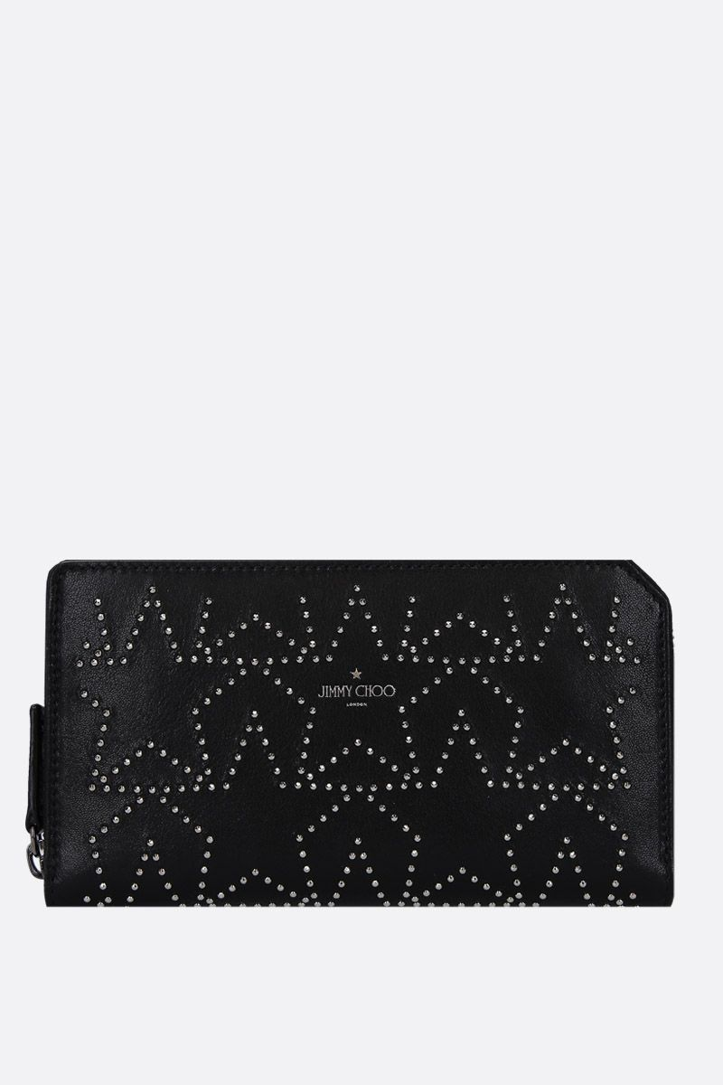 JIMMY CHOO: Carnaby zip-around wallet in shiny leather Color Black_1