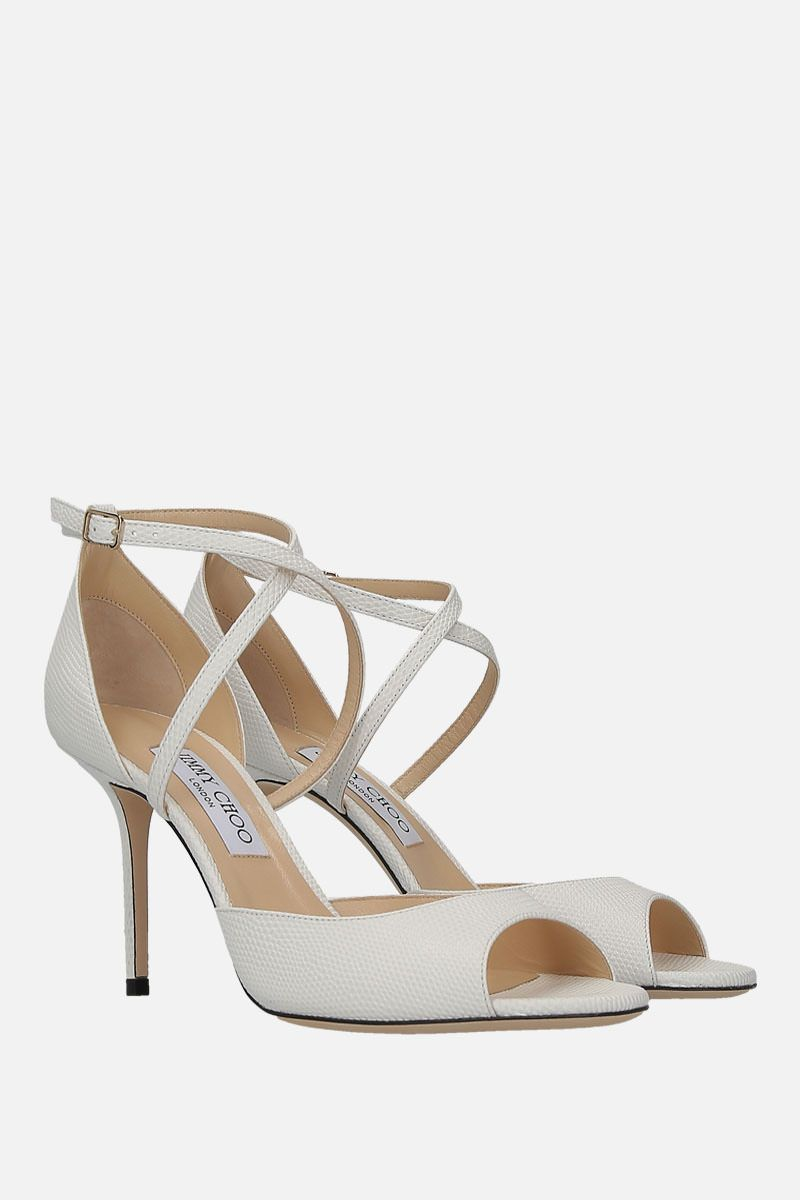 JIMMY CHOO: Emsy sandals in lizard embossed leather Color White_2