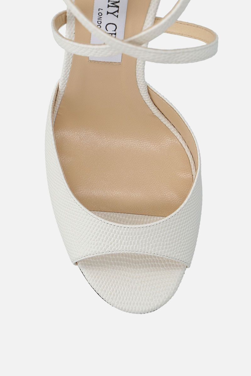 JIMMY CHOO: Emsy sandals in lizard embossed leather Color White_4