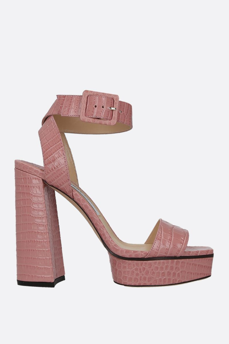 JIMMY CHOO: Jax/PF platform sandals in crocodile embossed leather Color Pink_1