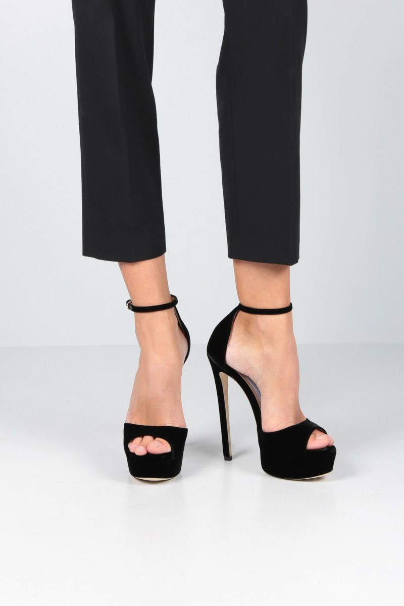 JIMMY CHOO: Max platform sandals in soft velvet Color Black_2