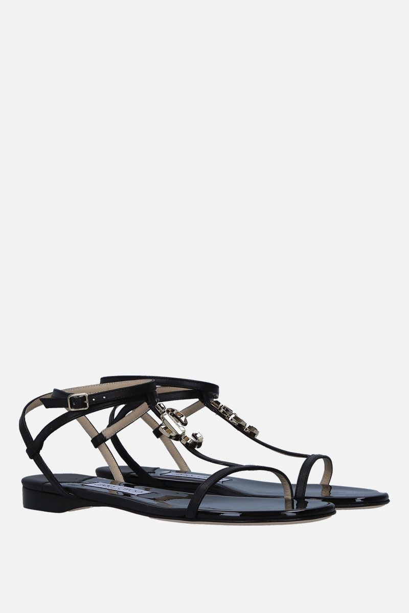 JIMMY CHOO: Alodie flat sandals in soft nappa Color Black_2