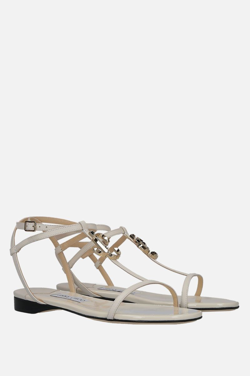 JIMMY CHOO: Alodie flat sandals in soft nappa Color White_2