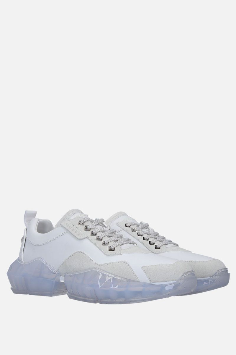 JIMMY CHOO: Diamond/M sneakers in smooth leather and suede Color White_2