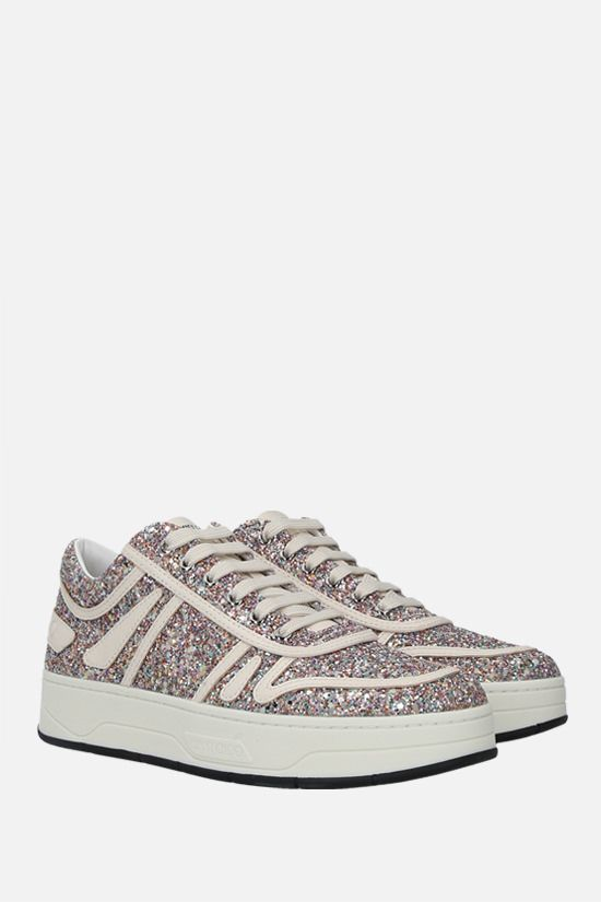 JIMMY CHOO: Hawaii/F glitter fabric and leather sneakers_2