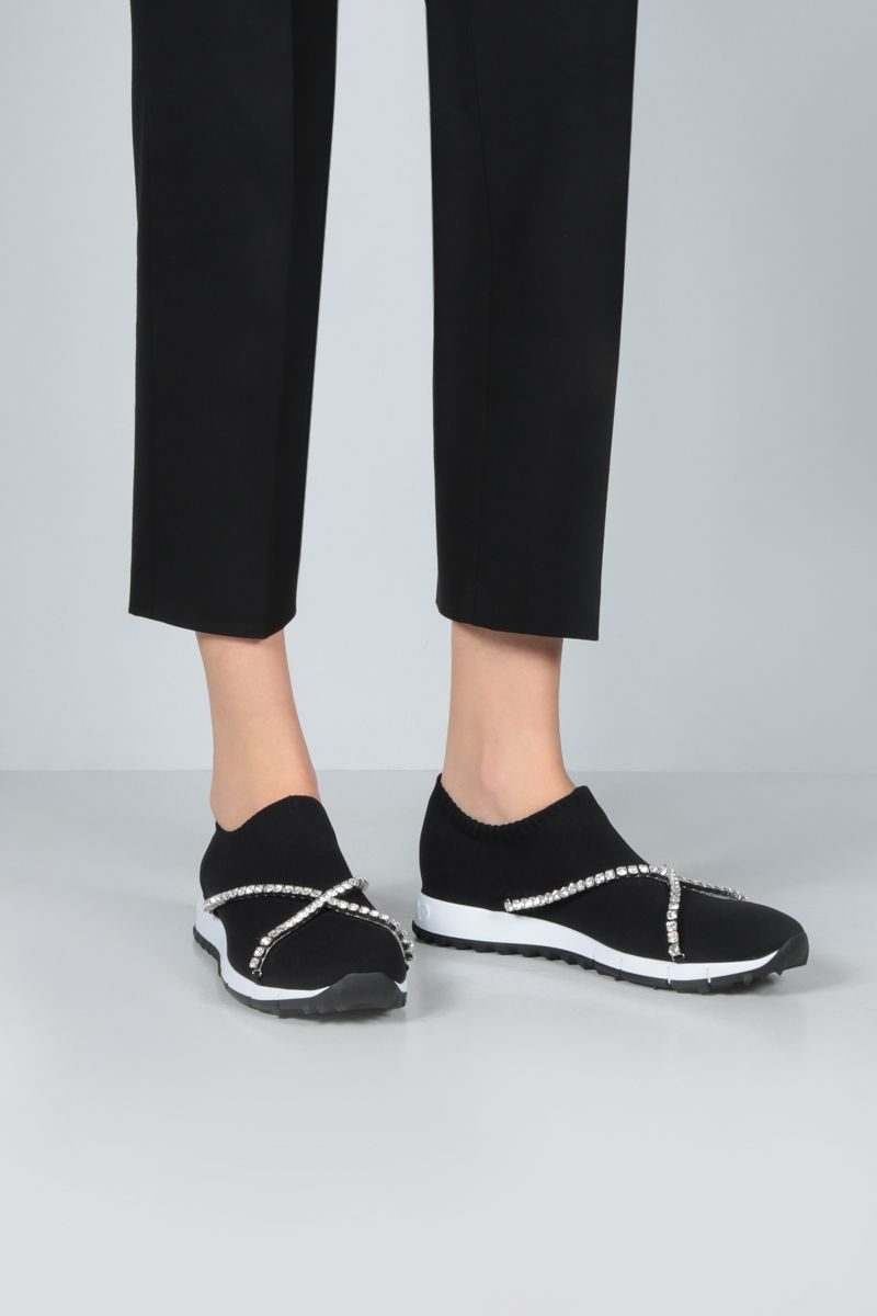 JIMMY CHOO: Verona stretch knit slip-on sneakers Color Black_2