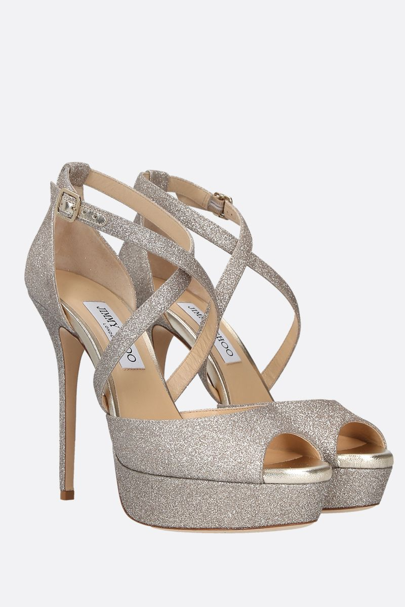 JIMMY CHOO: Jenique glitter fabric platform sandals_2