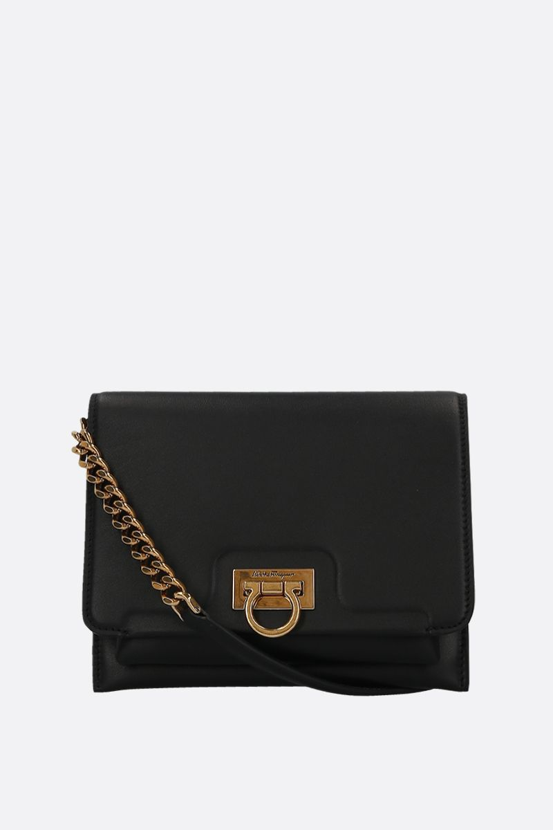 SALVATORE FERRAGAMO: Trifolio smooth leather crossbody bag Color Black_1