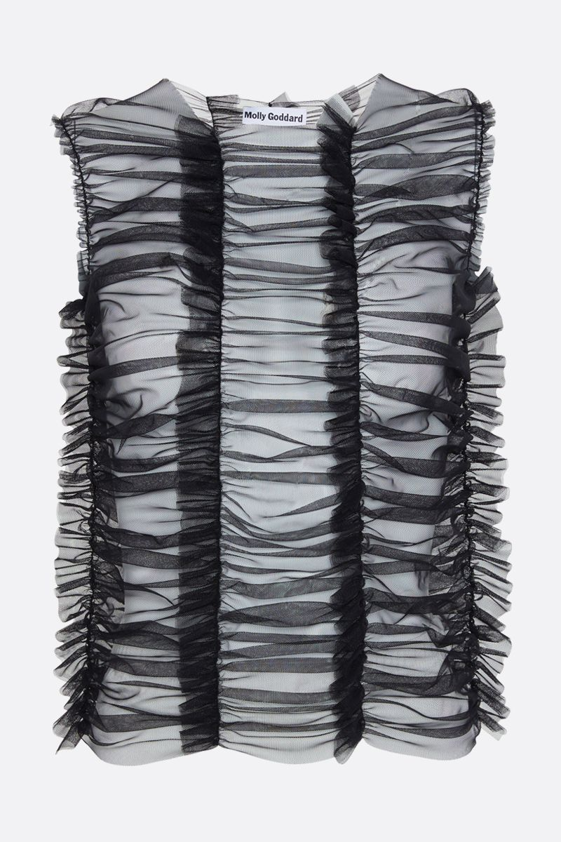MOLLY GODDARD: Joly tulle sleeveless top Color Black_1