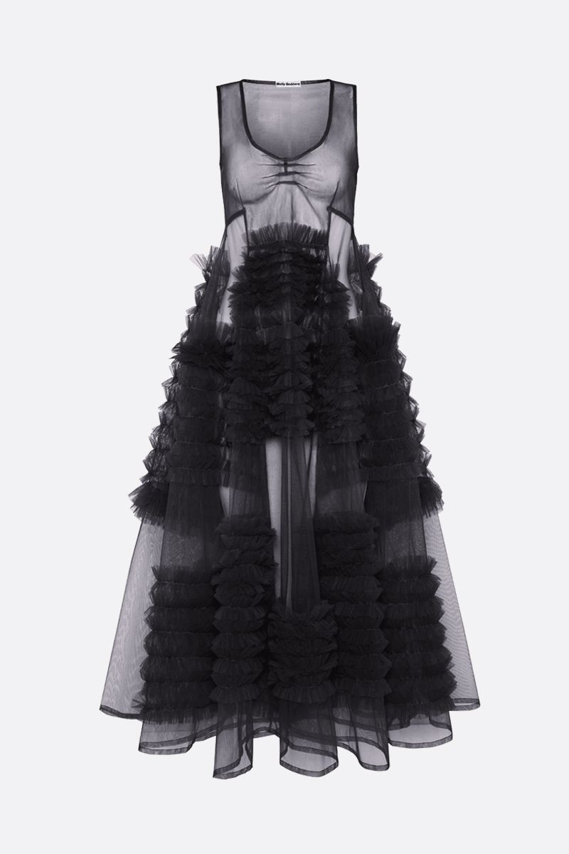 MOLLY GODDARD: Whitney tulle sleevess dress Color Black_1