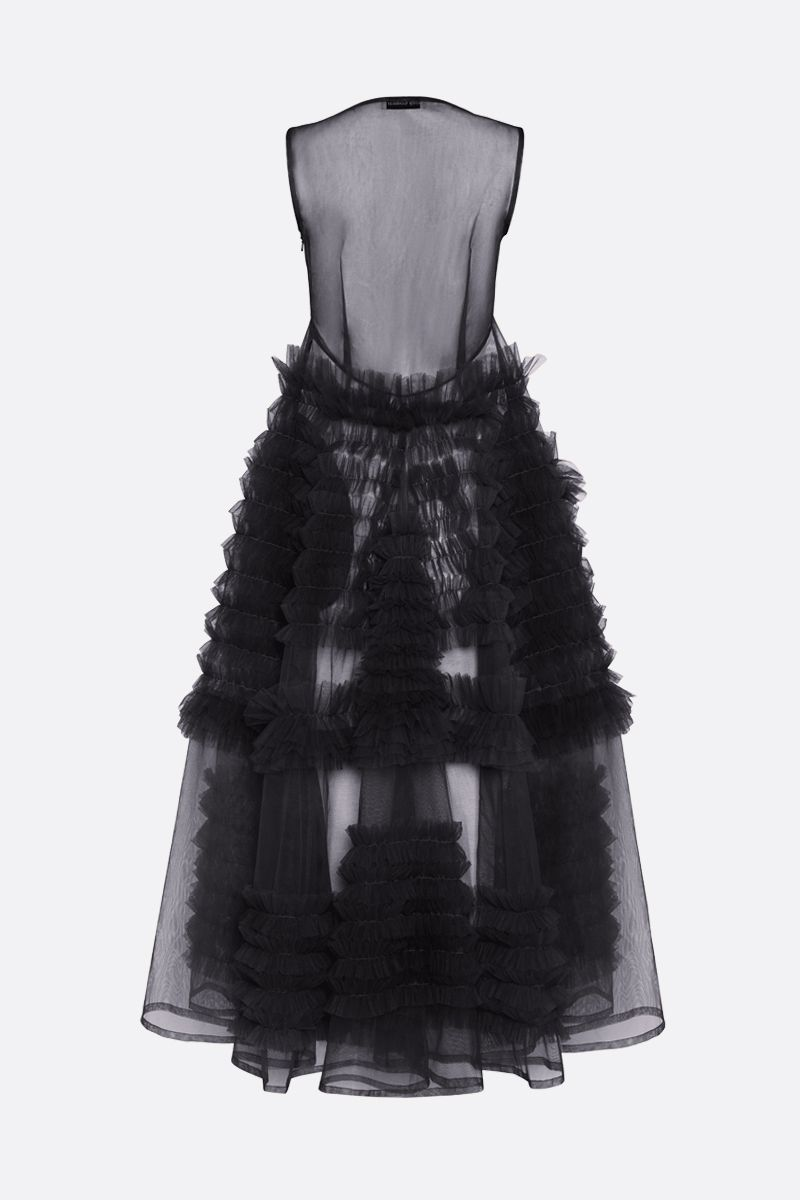 MOLLY GODDARD: Whitney tulle sleevess dress Color Black_2