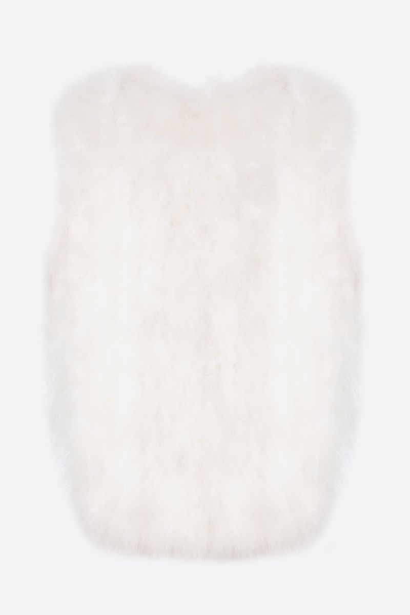 YVES SALOMON: feather-embellished fabric waistcoat Color White_2