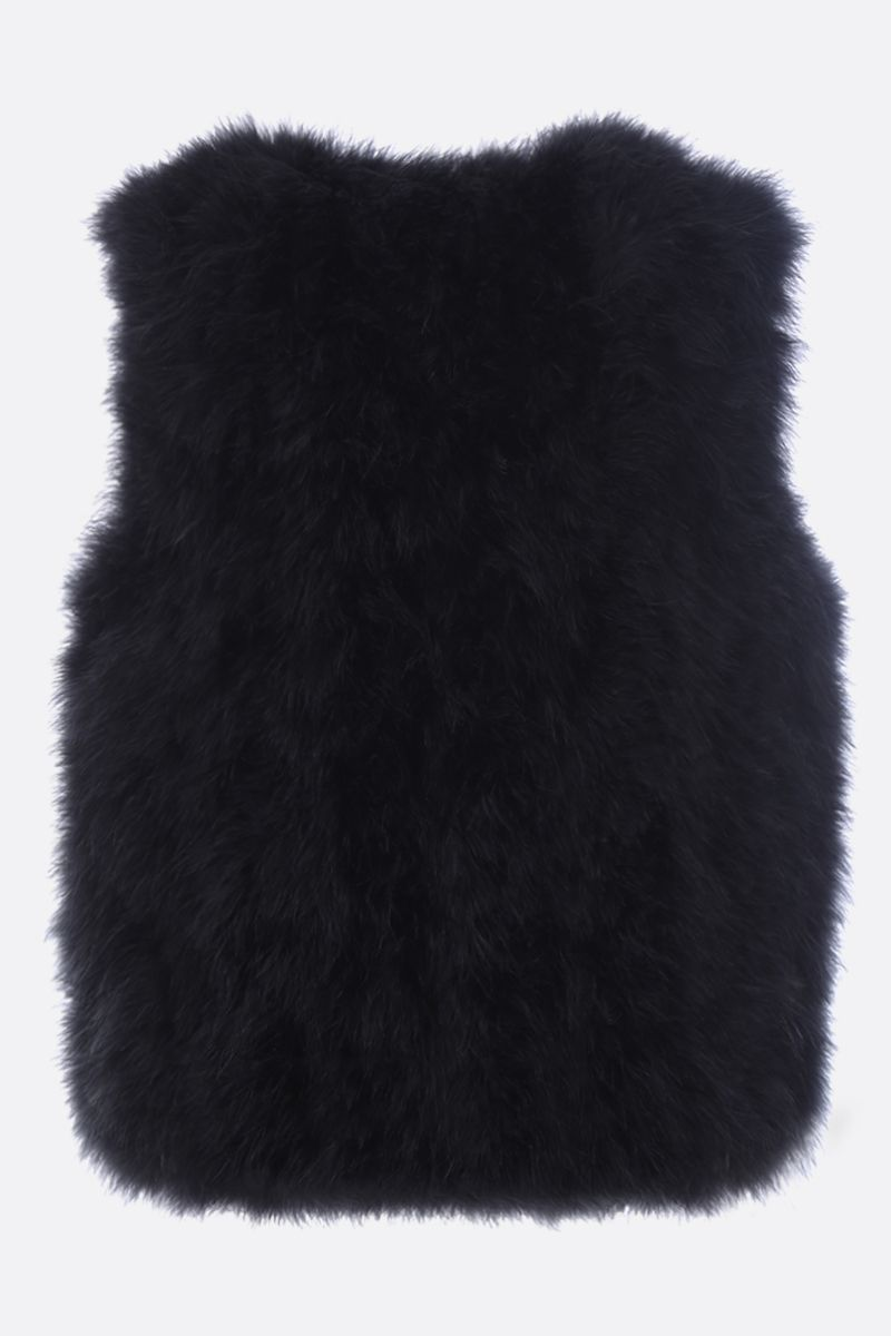 YVES SALOMON: feather-embellished fabric waistcoat Color Black_2