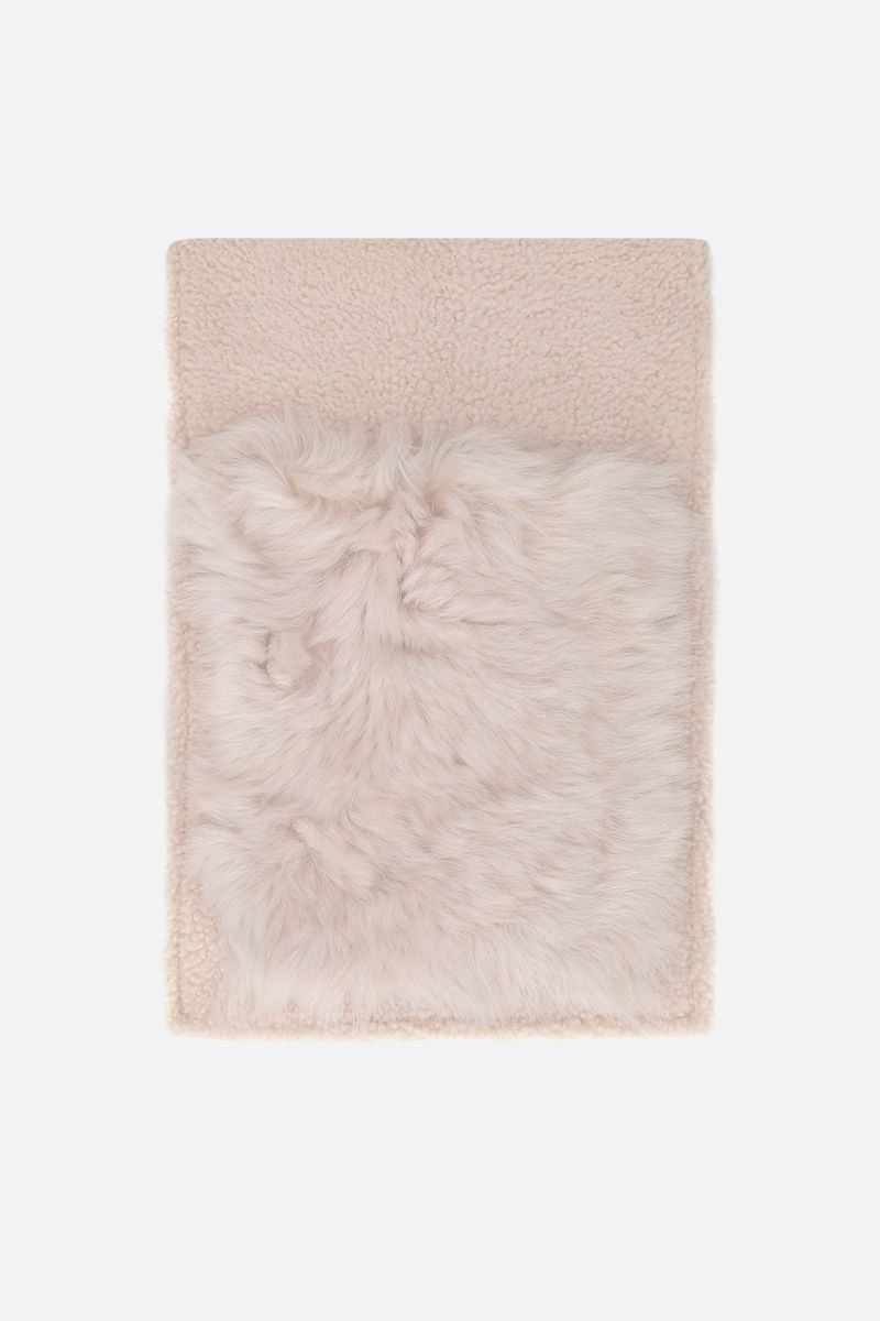YVES SALOMON: soft shearling scarf Color White_1