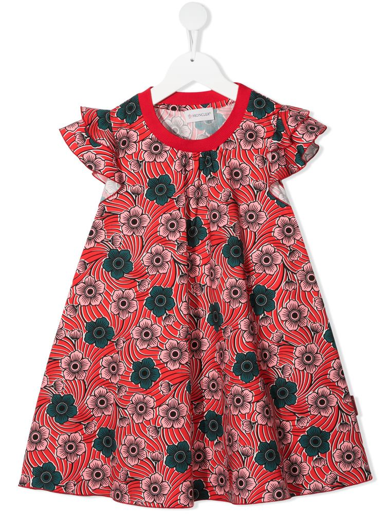 MONCLER KIDS: floral print cotton short dress Color Red_1