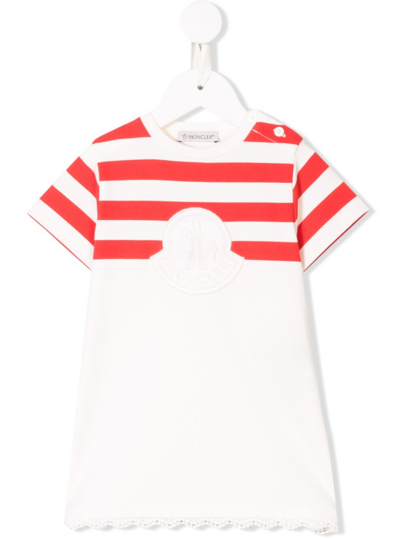 MONCLER KIDS: abito in jersey a righe Colore Bianco_1