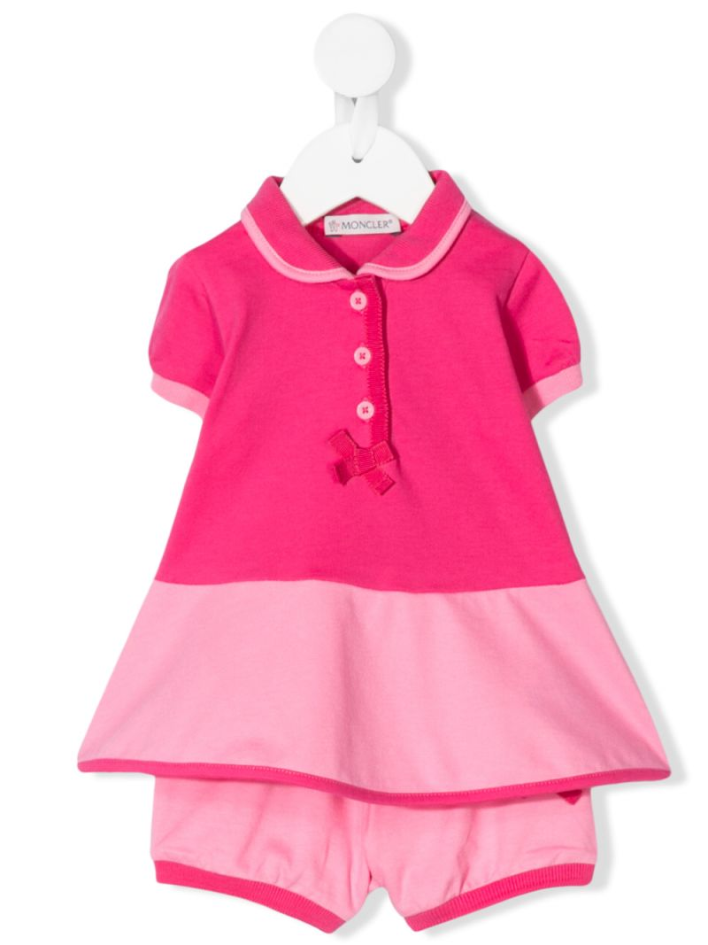 MONCLER KIDS: abito in piquet stretch con bloomers Colore Rosa_1
