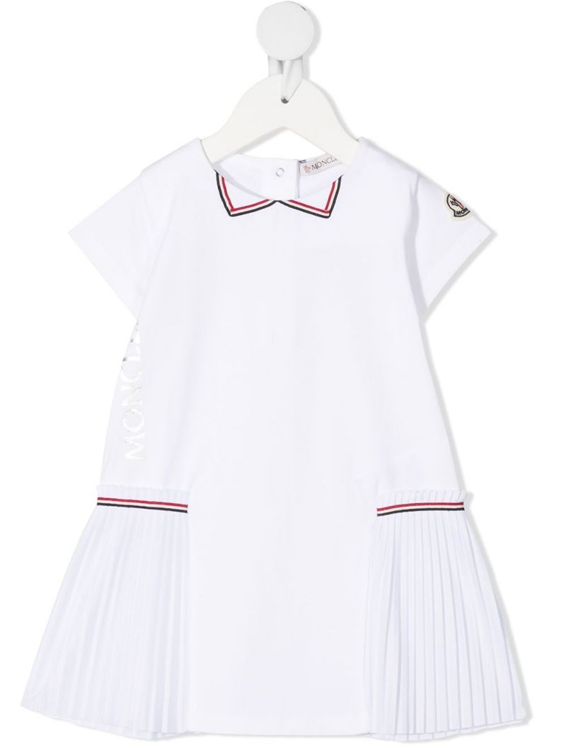 MONCLER KIDS: logo print stretch cotton dress Color White_1
