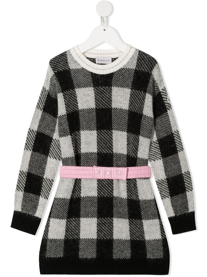 MONCLER KIDS: check wool mohair blend pullover-dress Color Black_1