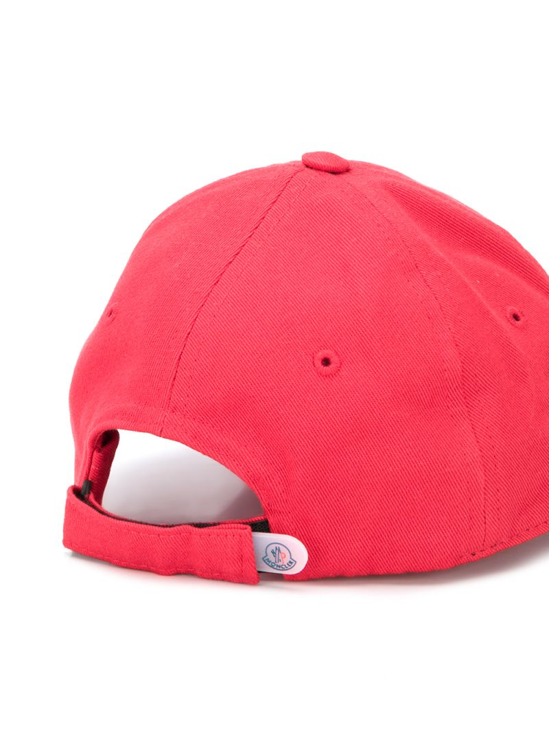 MONCLER KIDS: logo patch cotton baseball cap Color Red_2